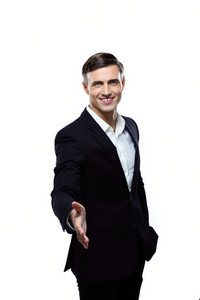 Portrait of businessman handshaking on a white background