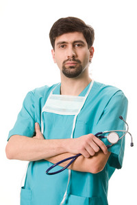 Portrait of confident doctor with stethoscope in hand looking at camera