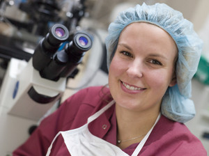 Portrait of embryologist in laboratory