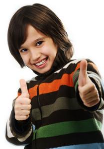 Portrait of happy joyful little boy isolated on white background