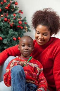 Portrait of mother and son at Christmas
