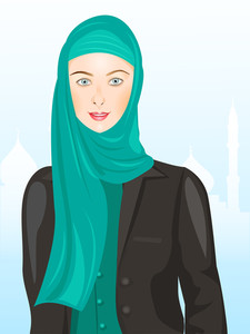 Portrait Of Muslim Beautiful Girl In Hijab