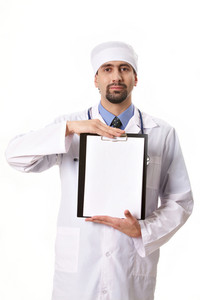 Portrait of physician showing blank paper in hands