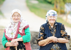 Portrait of two very old women outdoor