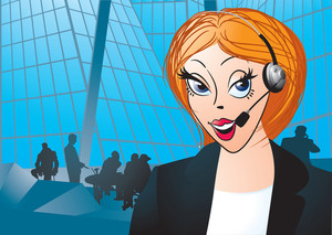 Portrait Of Woman Customer Service Worker, Call Center Smiling Operator With Phone Headset