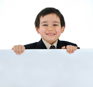 Positive child with banner