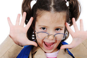 Positive girl with glasses