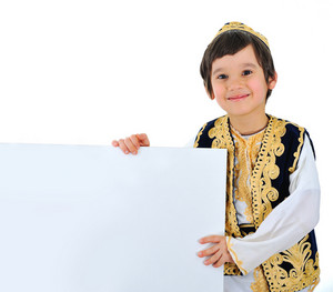 Positive kid with white banner