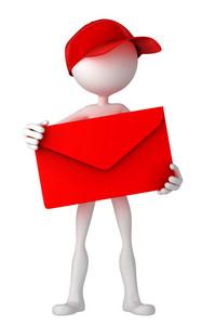 Postman Holding Envelope.