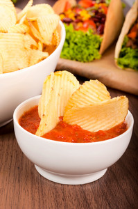 Potato Chips In Salsa Sauce