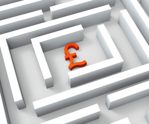 Pound Currency In Maze Shows Finding Pounds