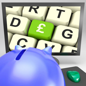 Pound Key On Monitor Showing Britain Prosperity
