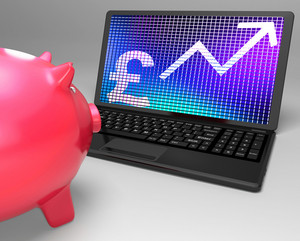Pound Symbol On Laptop Showing Britain Increases