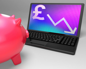 Pound Symbol On Laptop Shows Britain Finances