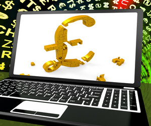 Pound Symbol On Laptop Shows Britain Online Marketing