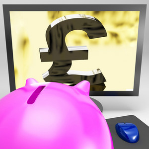 Pound Symbol On Monitor Showing Kingdom Wealth