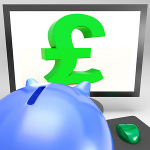 Pound Symbol On Monitor Shows Britain Wealth