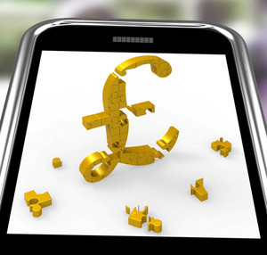 Pound Symbol On Smartphone Shows Britain Currency