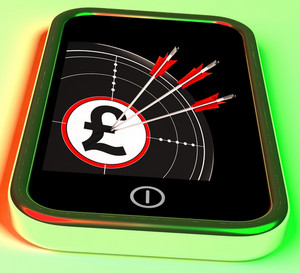Pound Symbol On Smartphone Shows Kingdom Wealth