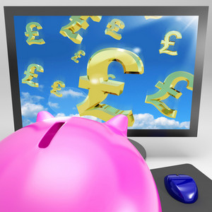 Pound Symbols Flying On Monitor Showing Britain Wealth
