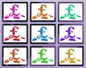 Pound Symbols On Monitors Showing Britain Finances
