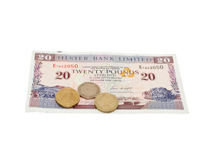 Pound Twenty Note With Coins Isolated