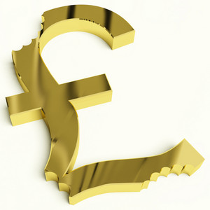 Pound With Bite Showing Devaluation Economic Crisis And Recession