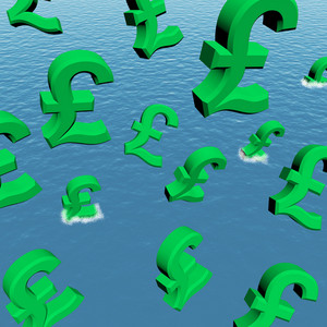 Pounds Dropping In The Sea Showing Depression Recession And Economic Downturn