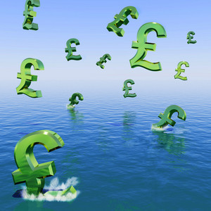 Pounds Falling In The Sea Showing Depression Recession And Economic Downturn