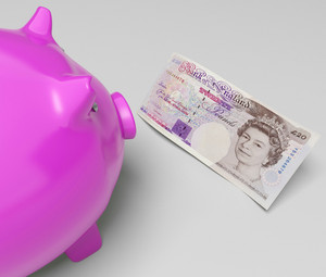 Pounds Piggy Shows Cash Savings In London