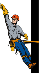 Power Lineman On Pole