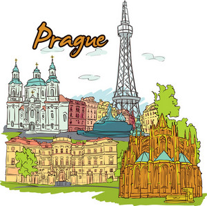 Prague Vector Doodle