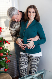 Pregnant woman in christmas