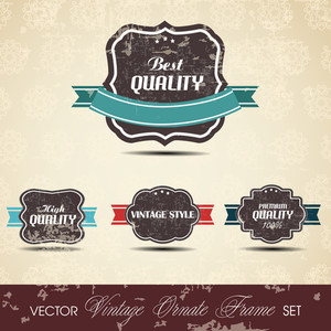 Premium Quality Labels With Retro Design And Ribbon