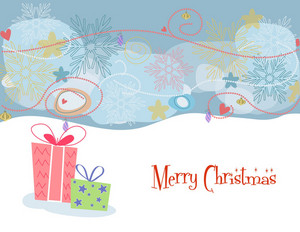 Presents With Snowflakes Vector Illustration
