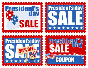 Presidents Day Sale Banner And Coupon Backgrounds Vector