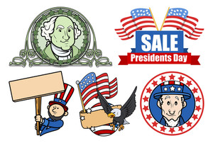 Presidents Day Usa 4th Of July Theme Vector Set
