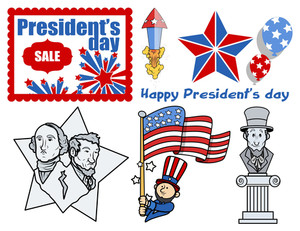 Presidents Day Usa Theme Vector Set