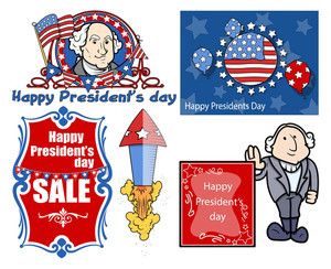 Presidents Day Vector Illustration Set