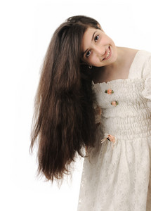 Preteen girl with long hair