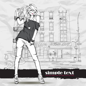 Pretty Fashion Girl In Sketch Style On A Street-cafe Background. Vector Illustrator.