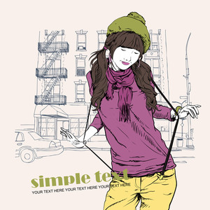 Pretty Fashion Girl With Beret On A Street-background .vector Illustration.