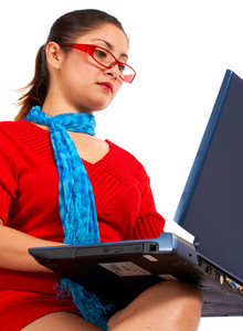 Pretty Female Working On Her Computer