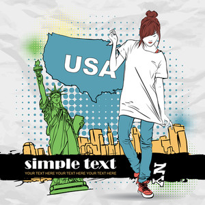 Pretty Girl In Sketch-style On A Usa-background. Vector Illustration.