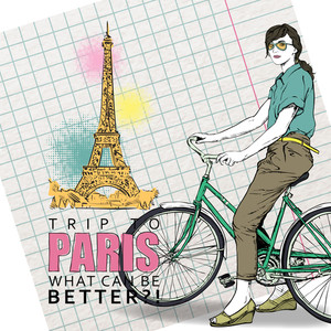 Pretty Girl With Bicycle On A Eiffel Tower Background. Vector Illustration