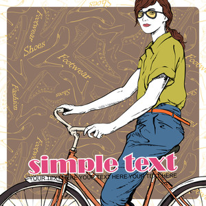 Pretty Girl With Bicycle On A Footwear Background. Vector Illustration