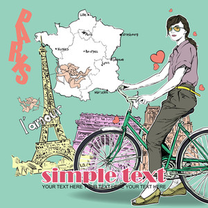 Pretty Girl With Bicycle On A French Background. Vector Illustration