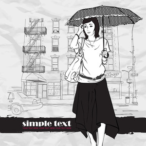 Pretty Girl With Umbrella In Sketch Style On A Street-background. Vector Illustrator.