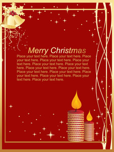Pretty Red Background Christmas Card