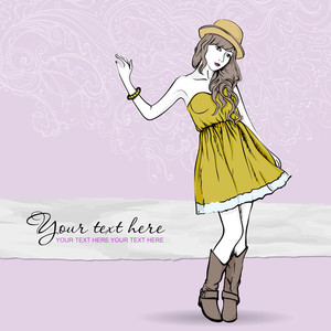 Pretty Spring Girl With Hat On A Floral Background. Vector Illustration
